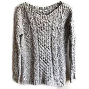 Madewell Gray Chunky Cable Knit Boatneck Sweater S